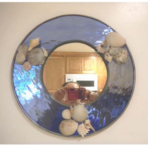 stained glass shell mirror