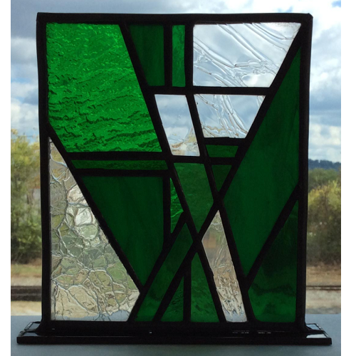 abstract green stained glass stand