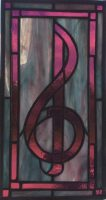stained glass treble clef