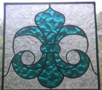stained glass fluer de lis panel