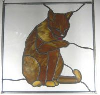 "cat stained glass 13.5"" x 12"""