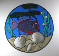 Stained glass circle fish 15inch