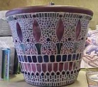 stained glass mosaic pot