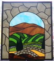 "Napa valley stained glass 17.5"" x 20.5"""