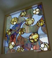 stained glass bathroom window with shells