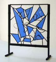 stained glass abstract blue stand