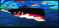 """stained glass boat 15"""" x 32"""""""