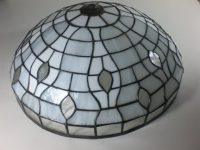 "Lamp Shade in white and clear texture 17"" diameter 8"" height"