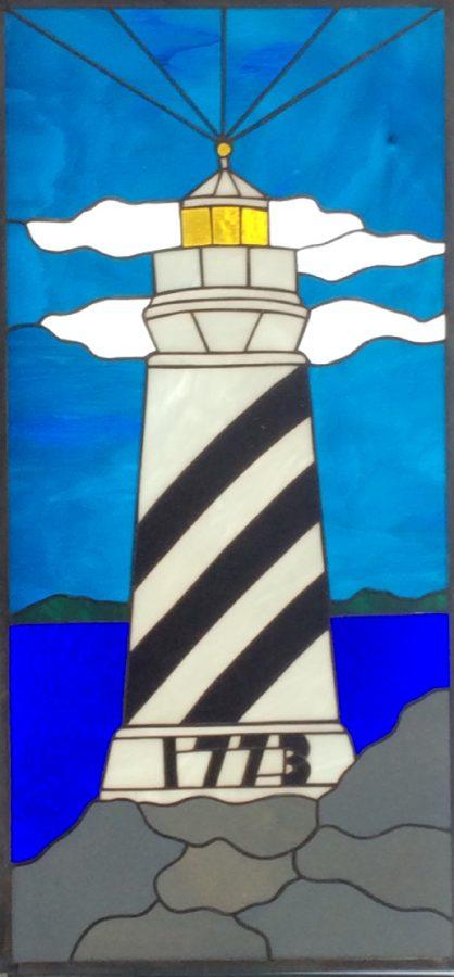 custom order stained glass light house
