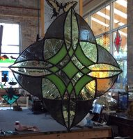 stained glass green mandala