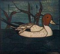 stained glass duck panel