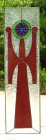 stained glass Egyptian cross