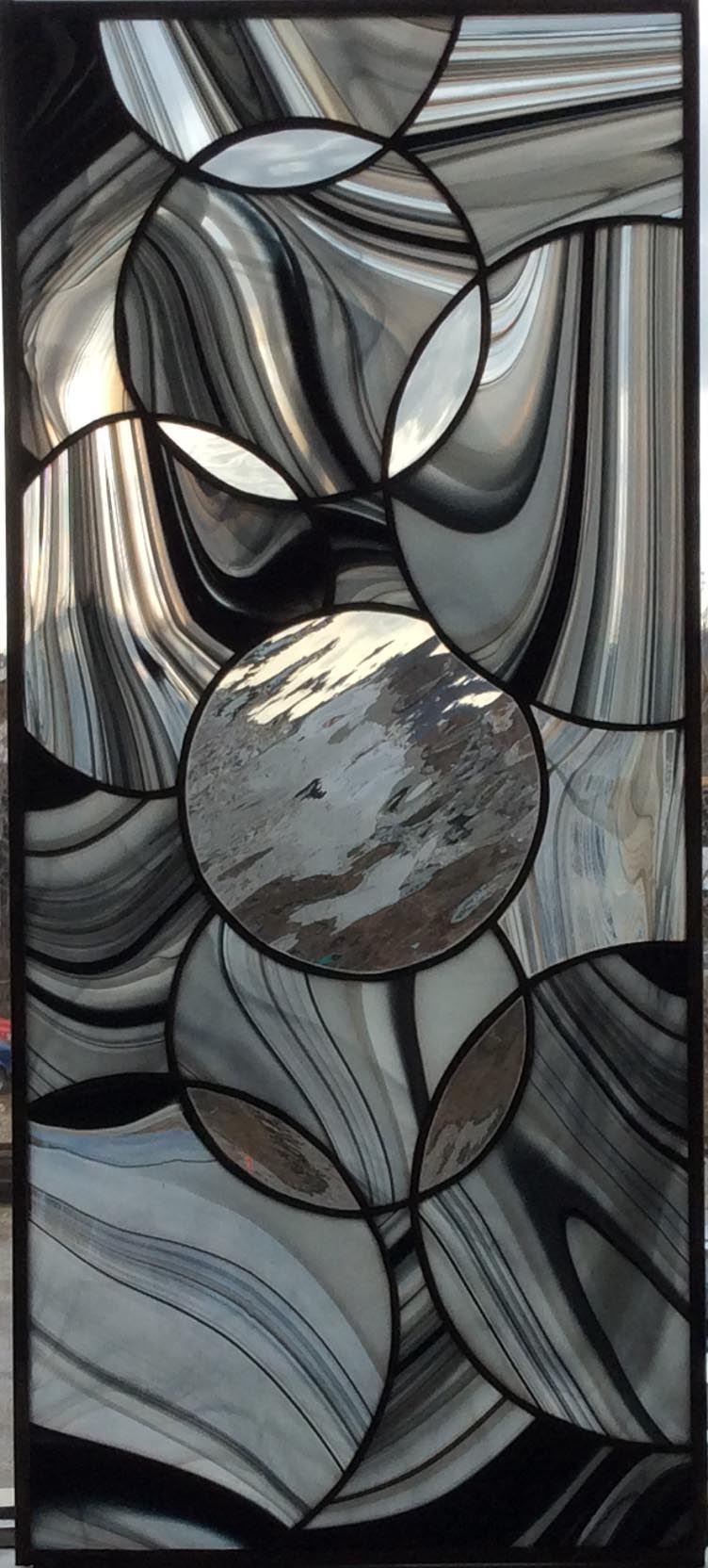 stained glass kitchen cabinet panel