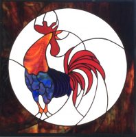 stained glass rooster light box