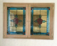 stained glass rose shutters