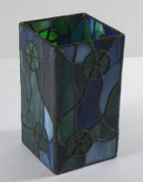 "stained glass candle shield 6 3/4"" x 3 3/4"""