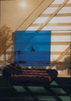 """This is a reproduction of the cover of a book (August"""")by Judith Rossner3ft x 5 ftused layered glass to get the shadow effect"""