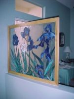 stained glass iris fashioned after Van Gogh painting