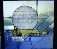 stained glass window cat
