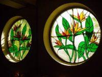 stained glass bathroom window bird of paradise