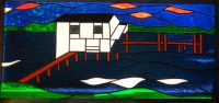 """Stained Glass Boat House 15"""" x 32"""""""
