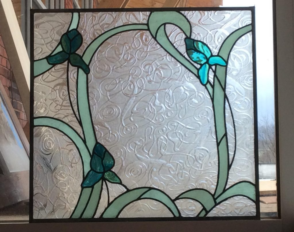 art nouveau style stained glass iris window