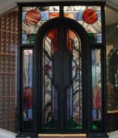 wine cellar stained glass door