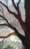 "stained glass tree panel 13"" x 20"""