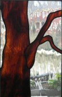 "stained glass tree panel 11.5"" x 18"""