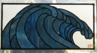 "Stained glass wave 29 3/4"" x 14 3/4"""