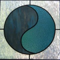stained glass yin yang window