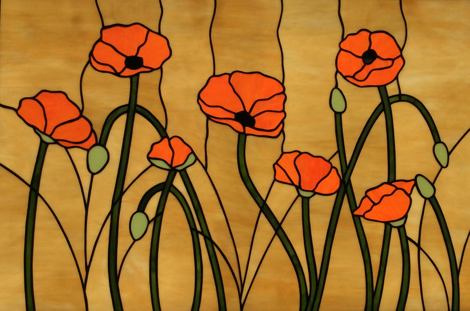 Stained Gl Window Poppies