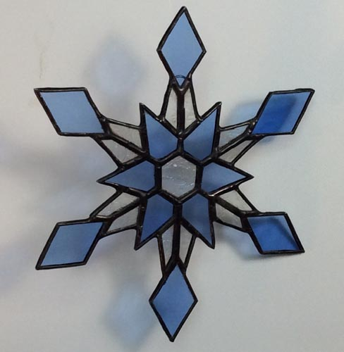 stained glass blue snowflake