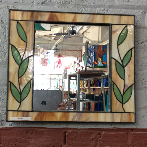 Stained Glass Mirror In Amber And Green With Vine Accents