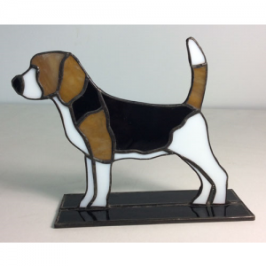 stained glass beagle stand