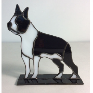 stained glass boston terrier stand