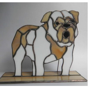 stained glass bulldog stand