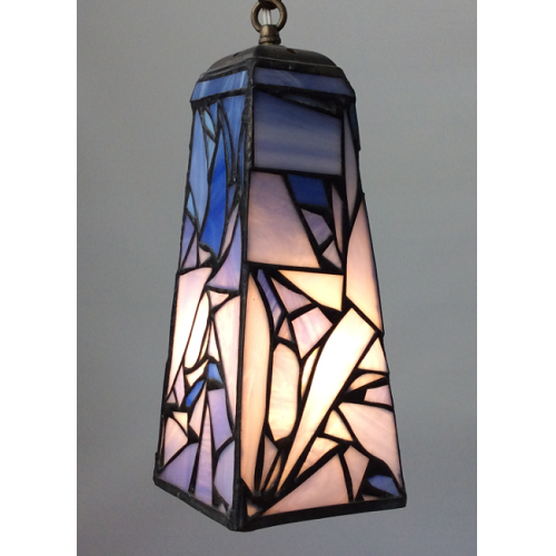 blue pendant lamp in stained glass