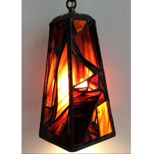 stained glass brown pendant lamp