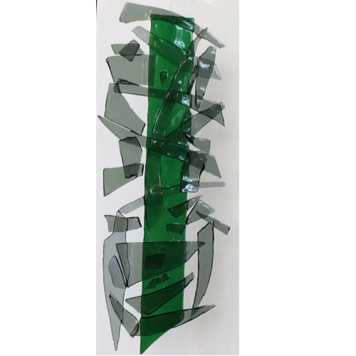 Abstract Fused Glass Hanging Art in Green and Grey