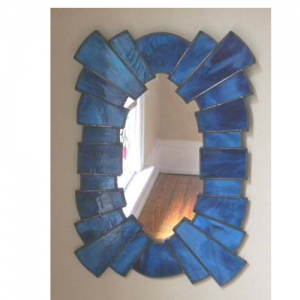 blue stained glass mirror