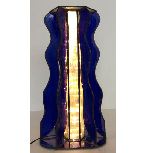 blue stained glass table lamp