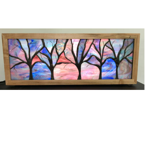 stained glass tree light box