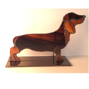 stained glass dachshund stand