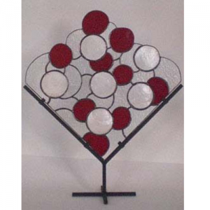 stained glass red white shell stand