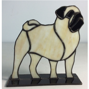 stained glass beige pug