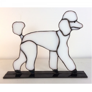 stained glass standard poodle stand