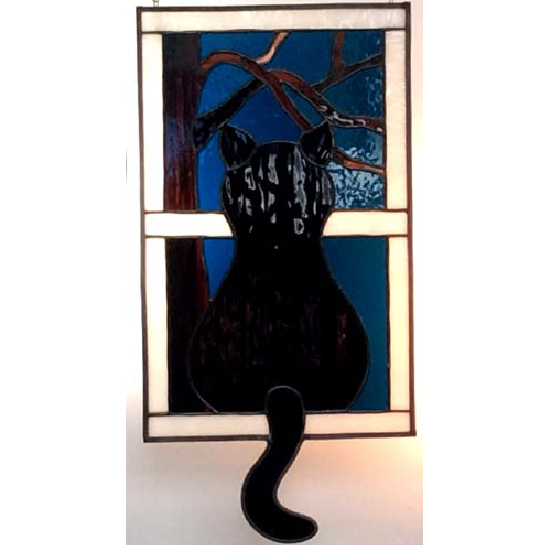 Stained Gl Black Cat Looking Out