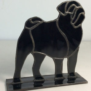 stained glass black pug stand