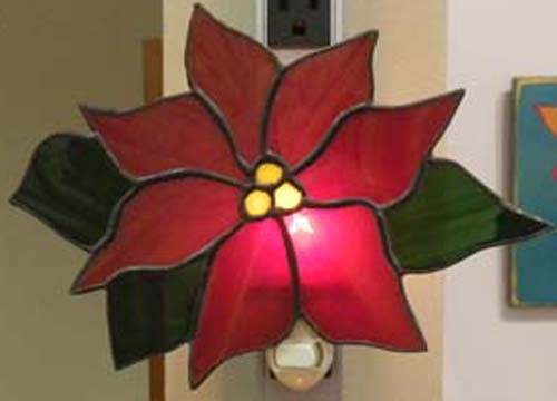Stained Glass Night Light Red Poinsettia With Olive Green